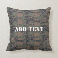 Military Digital Woodland Background Throw Pillow