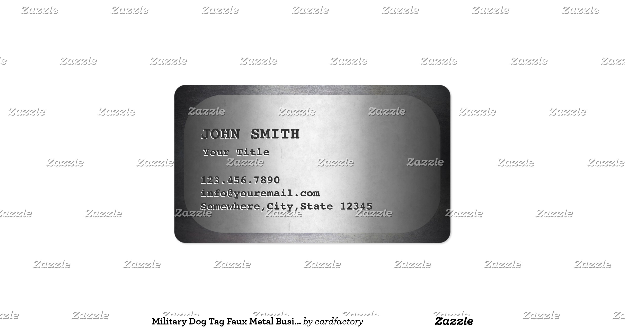 Military dog tag faux metal business card for Dog tag business cards