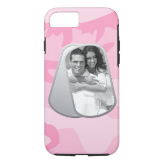Military Dog Tags and Pink Camouflage Pattern iPhone 8/7 Case