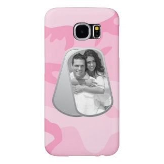 Military Dog Tags and Pink Camouflage Pattern Samsung Galaxy S6 Case