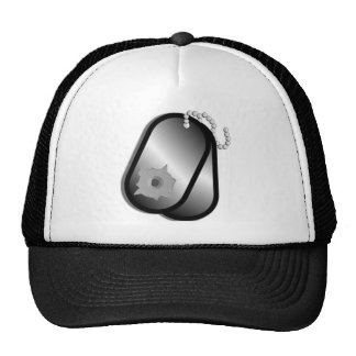 Military Dog Tags Bullet Hole Trucker Hat