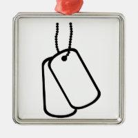 Military Dog Tags. Metal Ornament