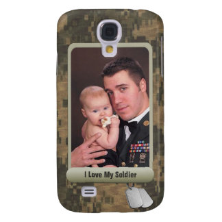 Military Dog Tags Personalized Photo Frame Camo Samsung Galaxy S4 Cases