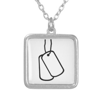 Military Dog Tags. Square Pendant Necklace