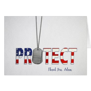 Military dog tags thank you-protect text on white card