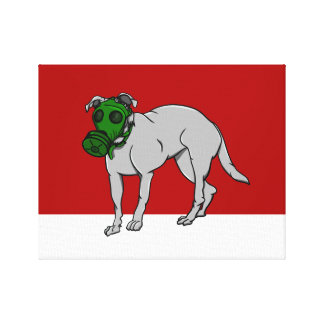Military  Dog Wearing A Canine Gas Mask Canvas Print