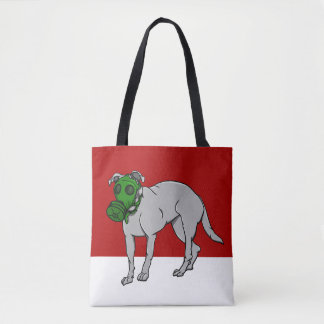 Military  Dog Wearing A Gas Mask Tote Bag