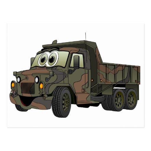 Military Dump Truck Cartoon Postcard