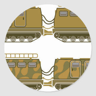 Military Expedition Tracked Tractor Classic Round Sticker