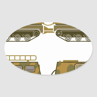 Military Expedition Tracked Tractor Oval Sticker