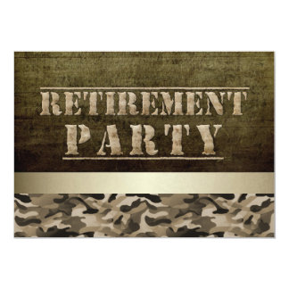 Military Fatigues Retirement Party 5x7 Paper Invitation Card
