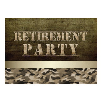Military Fatigues Retirement Party Custom Invites