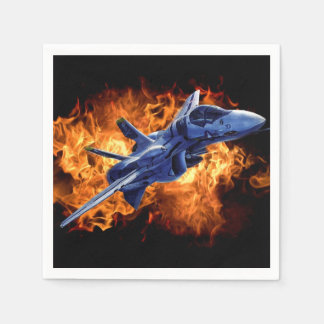 Military fighter jet flying out of the fire napkin