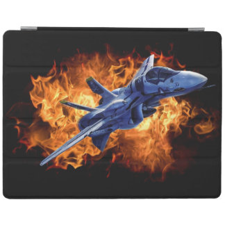 Military fighter jet flying out through fire iPad smart cover