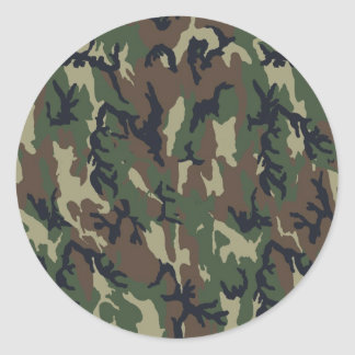 Military Forest Camouflage Background Classic Round Sticker