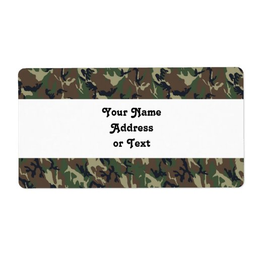 Military Forest Camouflage Background Label