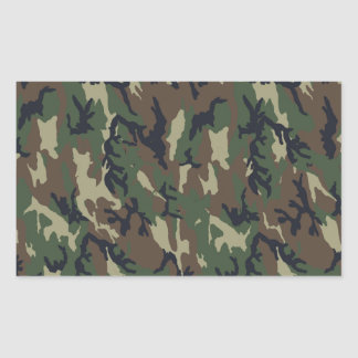 Military Forest Camouflage Background Rectangular Sticker
