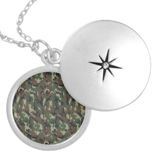 Military Forest Camouflage Background Silver Plated Necklace