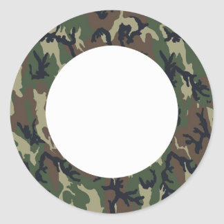 Military Forest Camouflage Background Round Stickers