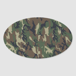Military Forest Camouflage Background Oval Stickers