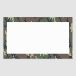 Military Forest Camouflage Background With White Rectangular Sticker