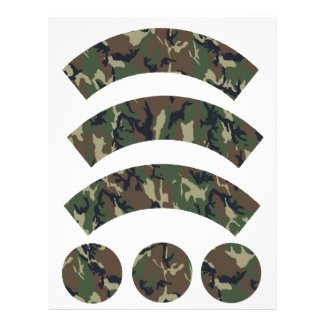 Military Forest Camouflage Cupcake Wrapper Letterhead