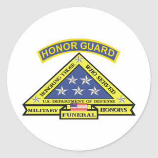 MILITARY FUNERAL HONOR GUARD ROUND STICKERS