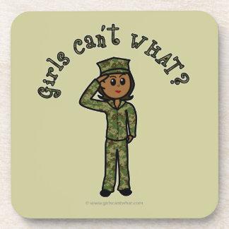 Military Girl - Dark Drink Coaster
