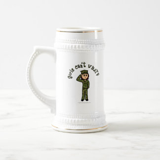 Military Girl - Red Hair Beer Stein