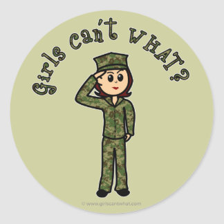Military Girl - Red Hair Classic Round Sticker