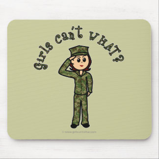 Military Girl - Red Hair Mouse Pad