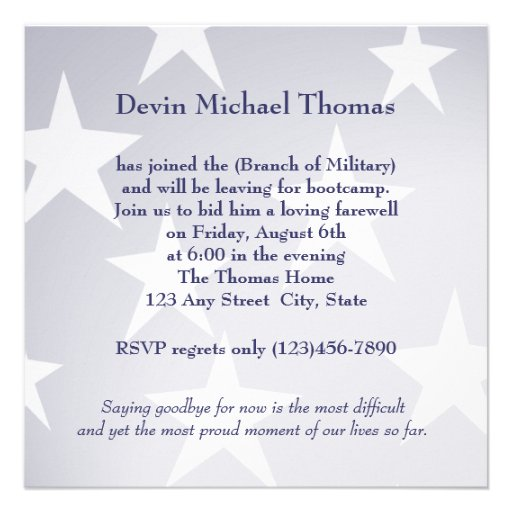 Military Going Away Party Custom Invite (back side)
