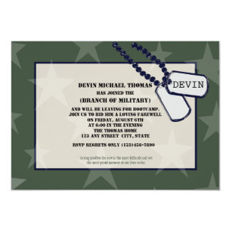 Military Going Away Party Green Stars Card