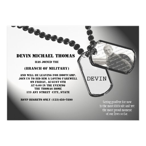 Military Going Away Party Personalized Invitation