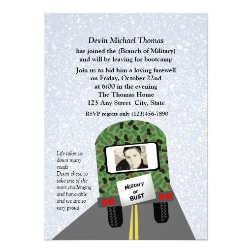 Military Going Away Party Personalized Invite