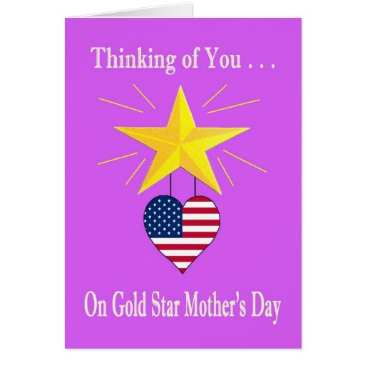 Military Gold Star Mother S Day Heart Card Zazzle