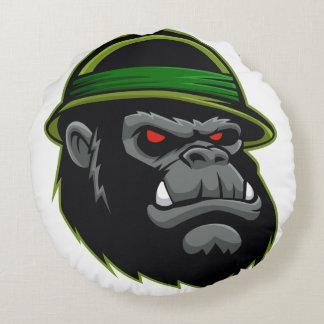 Military Gorilla Head Round Pillow