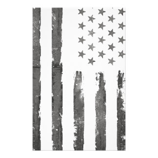 Military Gray Armerican flag Vintage Stationery