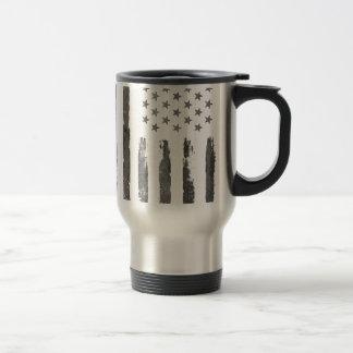 Military Gray Armerican flag Vintage Travel Mug