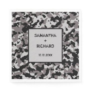 Military Gray Camo Wedding Napkin