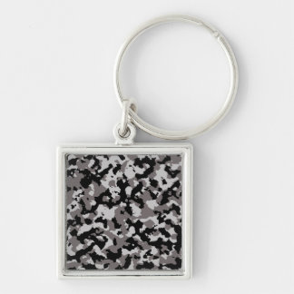 Military Gray Camouflage Pattern Keychain