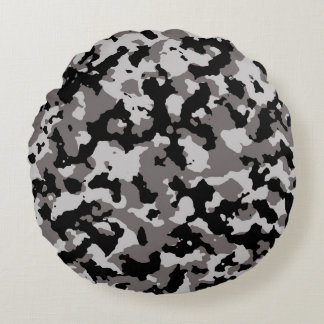 Military Gray Camouflage Pattern Round Pillow