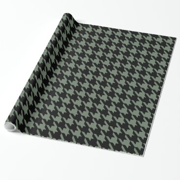 Military Green Black Large Houndstooth Check Wrapping Paper