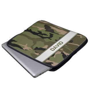 Military Green Camo Name Template Laptop Computer Sleeves