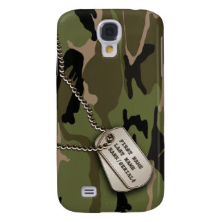 Military Green Camo w/ Dog Tag Galaxy S4 Cover