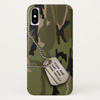 Military Green Camo w/ Dog Tag iPhone X Case
