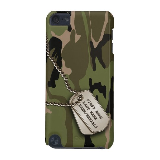Military Green Camo w/ Dog Tag iPod Touch 5G Cover