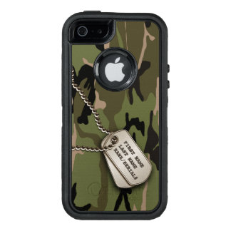 Military Green Camo w/ Dog Tag OtterBox Defender iPhone Case