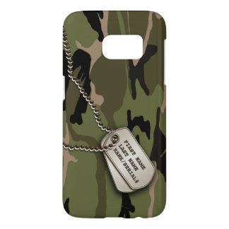 Military Green Camo w/ Dog Tag Samsung Galaxy S7 Case