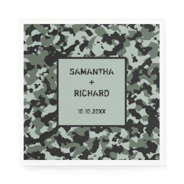 Military Green Camo Wedding Napkin